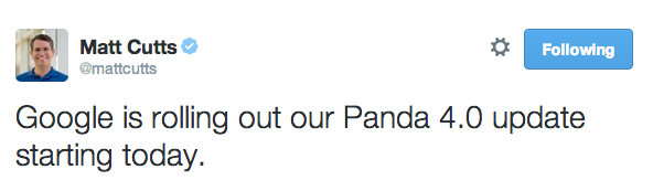 Il tweet di Matt Cutts su Panda 4.0